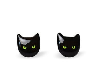 Cat Earrings Cat Stud Earrings Cute Cat Earrings Black Cat Tiny Cat Earrings Cat Lover Gift Kitty Earrings Cats Animal Earrings Cat Jewelry