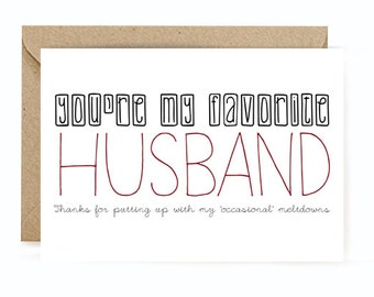 Anniversary Card - You're My Favorite Husband Card - Cute Anniversary Card for Husband - Funny Card for Husband - Funny Witty Cards