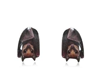 Bat Earrings - Cute Animal Earrings - Hanging Bat Stud Earrings - Surgical Steel Posts - For Sensitive Ears