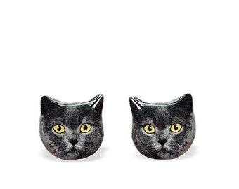 Cat Earrings - British Shorthair Cat - Cat Stud Earrings - Grey Cat Earrings - Grey Cat Stud Earrings - Cats - Cat Lover Gift