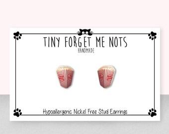 Popcorn Stud Earrings - Popcorn Earrings - Movies - Movie Night - Funky Accessories - Handmade Hypoallergenic Surgical Steel