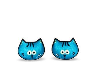 Blue Cat Stud Earrings - Cat Stud Earrings - Cat Earrings - Cat Illustration Earrings - Fun Gift For Cat Lover, Animal Earrings Lightweight
