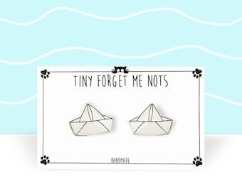 Boat Earrings - Boat Stud Earrings - Origami Boat - Paper Boat Earrings - Surgical Steel Studs - Gift For Her