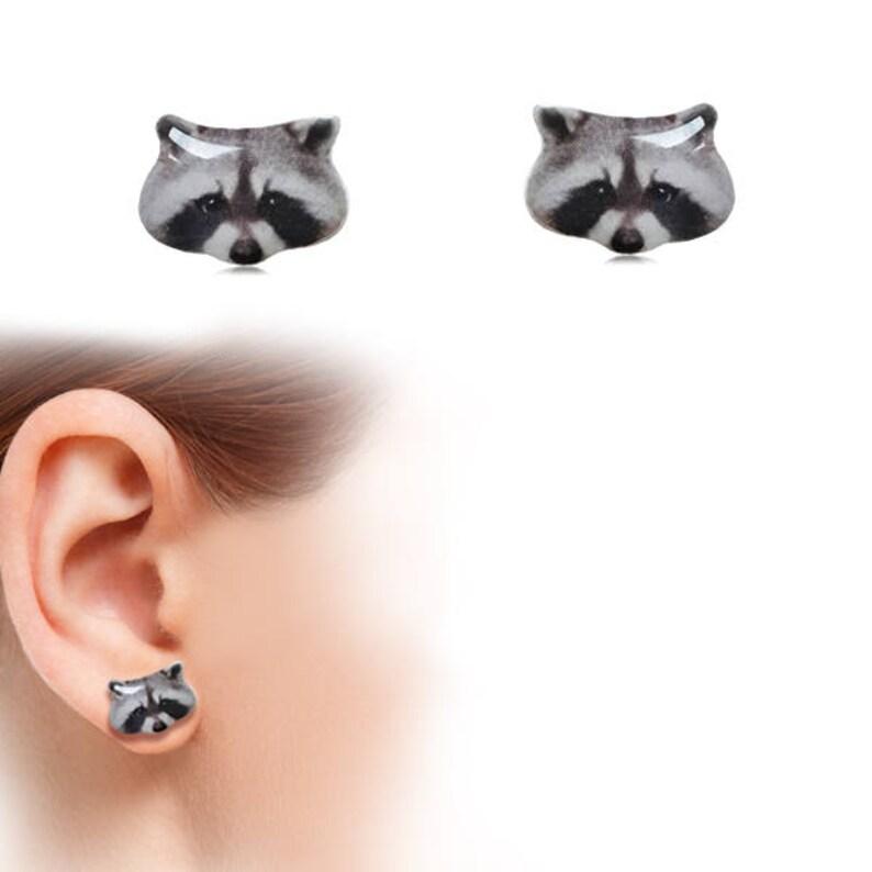 Cute Animal Posts Surgical Steel Stud Earrings Great For Sensitive Ears Animal Earrings Racoon Animal Stud Earrings