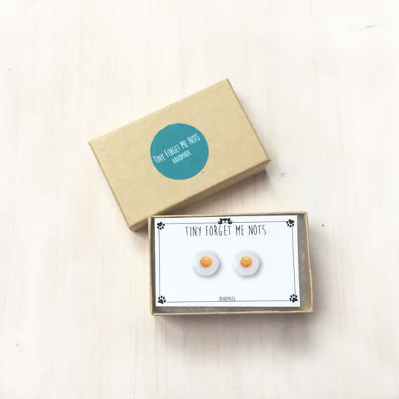 Surgical Steel Posts Food Egg Jewelry Egg Sunny Side Up  Egg Fried Egg Earrings Miniature Food Stud Earrings Egg Stud Earrings