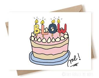 Blow Me Birthday Card, Sweet Birthday Card, Birthday Card For Wife, Birthday Card Funny