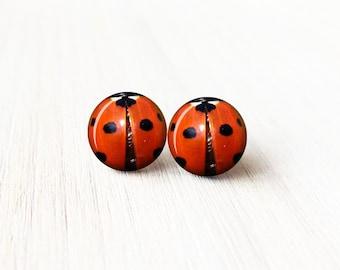 Tiny Ladybug Stud Earrings - Ladybugs Stud Earrings - Surgical Steel Stud Earrings - 8 mm Stud Earrings - Ladybug Tinnies