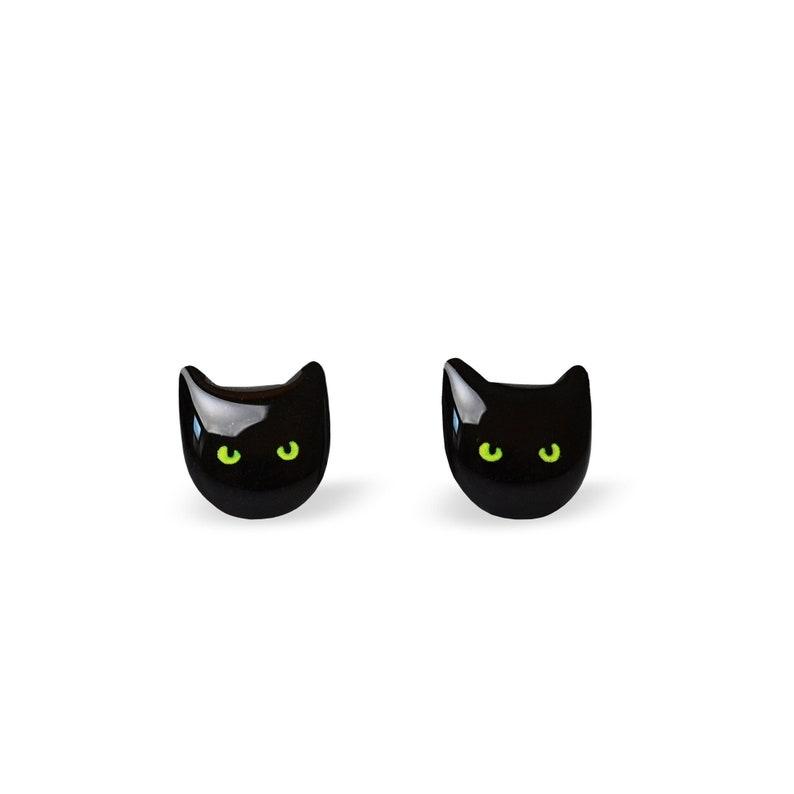 Cat Earrings Cat Stud Earrings Cute Cat Earrings Black Cat image 1