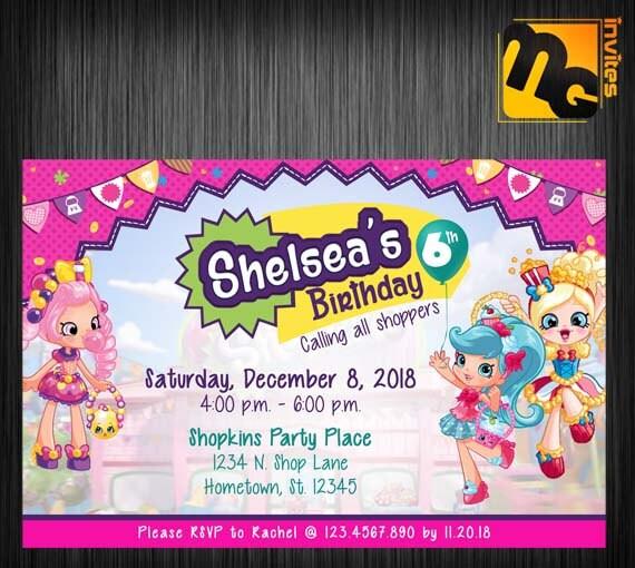 Shopkins Invitar Shopkins Invitación Cumpleaños Shopkins Shopkins Parte Shopkins Cumpleaños Invitación