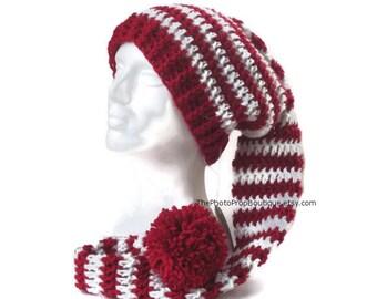 """36"""" Long toboggan hat~Baby, Child, Adult Sizes~Red & White stripes Santa, elf pixie stocking cap, big pom pom"""