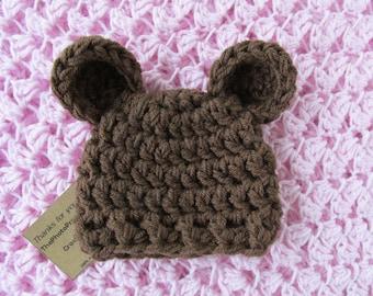 Brown bear hat -crochet chunky beanie. Sizes Micro Preemie to 7 years-  Unisex photography prop 59f139b5f65e