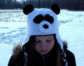 931a15e1b9e Panda hat with earflaps--crochet Bear trapper cap in all sizes- white    black photo prop or winter hat Newborn up to Adult
