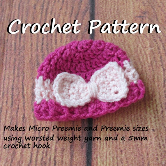 Preemie And Micro Preemie Crochet Pattern For Bow Hat Beanie Etsy Inspiration Preemie Crochet Patterns
