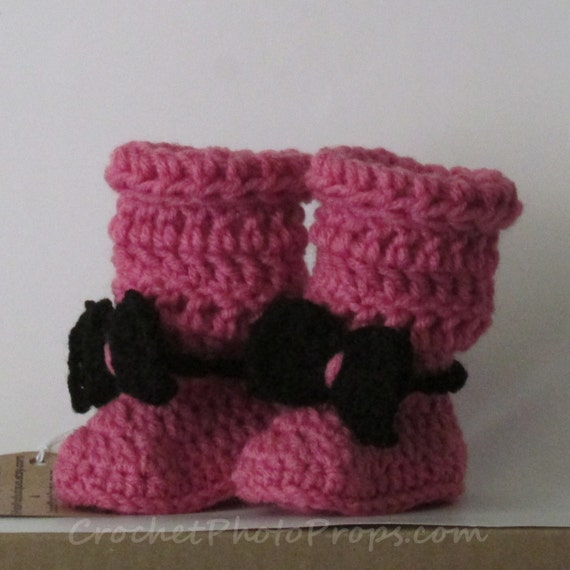 ba753eb53b395 Baby Boots-tall Super Slouchy Mauve booties with black bows Size 0/1  (Newborn to 3 mos)FREE SHIPPING