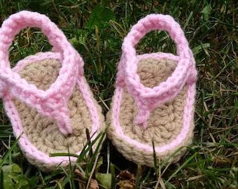 Pink Flip Flops for Babies~Sizes 0, 1 & 2 (Newborn,0-3 Months,3-6 Months)~Crochet booties