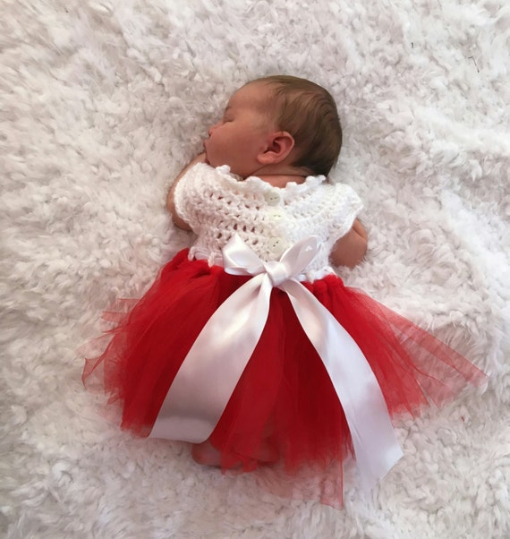 Newborn Christmas Dresses 0 3 Months.Christmas Dress White Ivory W Red Baby Dress Crocheted Bodice Tulle Tutu Skirt Sizes Newborn 0 3 Months 3 6 Months 6 12 Mos Fre