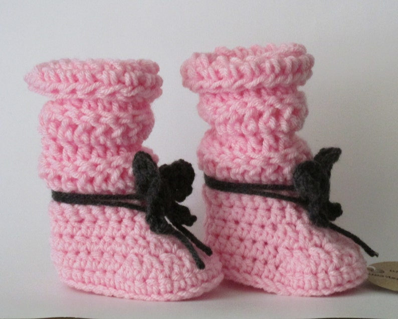 dc47f90a557ce Tall & Slouchy Baby Boots ~Pink booties with black bows Size 0/1 (Newborn  to 3 mos) FREE SHIPPING