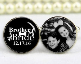 Brother of the bride, personalized photo, custom any text, photo, date, personalized cufflinks, custom wedding cufflinks, groom cufflinks