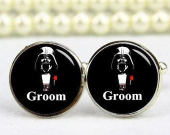 Groom Cufflinks, Dark Groom, Star Fans, Custom Any Text, Phrase, Personalized Cufflinks, Custom Wedding Cufflinks Groom Cuff Links Tie Clip