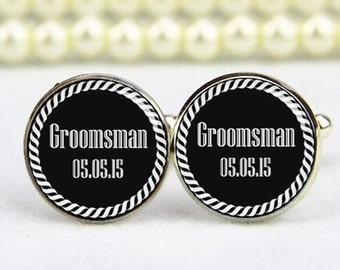 groomsman cufflinks, custom any text or photo, wedding cufflinks, personalized cufflinks, tie clip, groomsman, groom cufflinks, gift for him