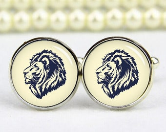 lion cuff links, lion cufflinks, tie clips, lion head cufflinks, lion head cuff links, custom any logo, personalized cufflinks, wedding gift