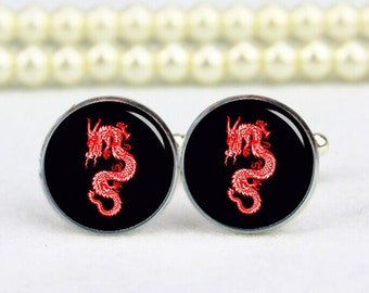 red dragon cufflinks, Chinese dragon, custom text, your photo, personalized cufflinks, tie clips, custom wedding cufflink, groom cufflinks