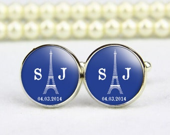 Eiffel Tower Cufflinks, custom monogram, tie tack, custom any text, photo, personalized cufflinks, custom wedding cufflinks, groom cufflinks