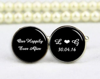happily ever after cufflinks, round, square cuff links, personalized cufflinks, custom any text, photo, custom wedding cufflink, groom gifts
