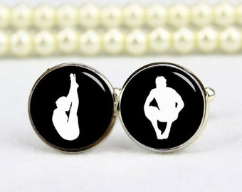 diving cufflinks, fancy diving cufflinks, custom any sports, diving athletes cuff links, personalized cufflinks, wedding cufflinks, groom