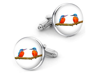 kingfisher cufflinks, Custom any birds cuff links, hummingbird cufflinks, personalized cufflinks, custom wedding cufflinks, groom cufflinks