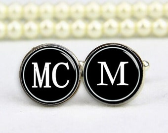 customized initials cufflinks, tie clip, monogram, custom any text, photo, personalized cufflinks, custom wedding cufflinks, groom cufflinks