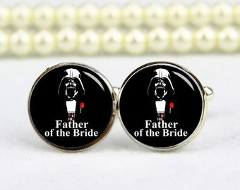 Father Of The Bride Cufflinks, Dark Father, Star Fans, Custom Any Image, Personalized Cufflinks, Custom Wedding Cufflinks, Groom Cufflinks