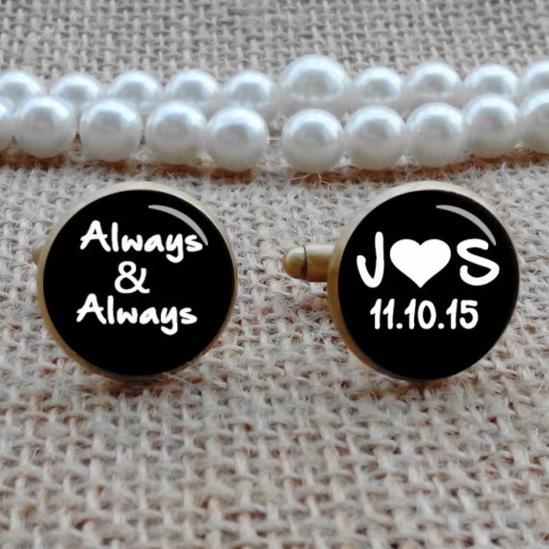 Personalized Cufflinks Tie Clips Tie Tacks Always /& Forever Cufflinks Photo Custom Wedding Cufflinks Groom Cufflinks Custom Any Text