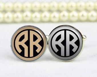 monogram cufflinks, monogram jewelrys, custom any text, colours, photo, personalized cufflinks, custom wedding cufflink, groom cufflinks