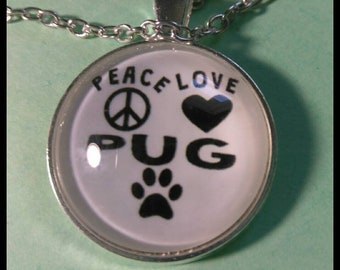 Peace love pug  Necklace  #Y8981lSKC