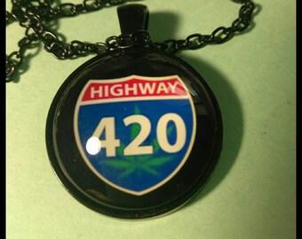 420 Necklace, weed Necklace pendant  #Y8981l3