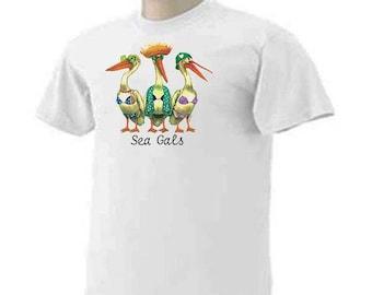 SEA GALS Sea Gull Divas Funny Humor Birds Ocean T-Shirt