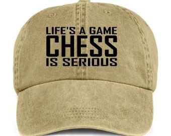 ea5b5307b81 CHESS LIFE S A GAME Board Game Baseball Style Cap Hat Vinyl Print
