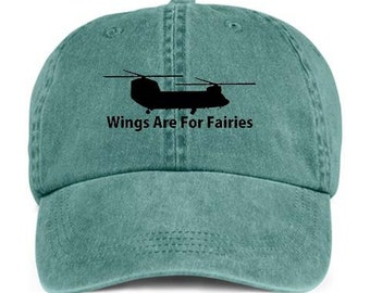 Helicopter Wings For Fairies VINYL PRINT Chopper Baseball Style Cap Hat