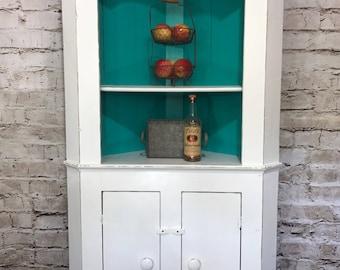 Primitive Corner Antique Cabinet White Turquoise