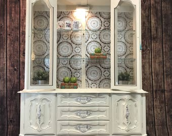 Vintage White China Cabinet Hutch French Provincial