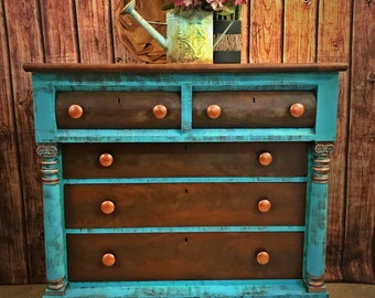 Turquoise Rustic Boho Antique Empire Clawfoot Dresser Buffet Gypsy Style  Furniture