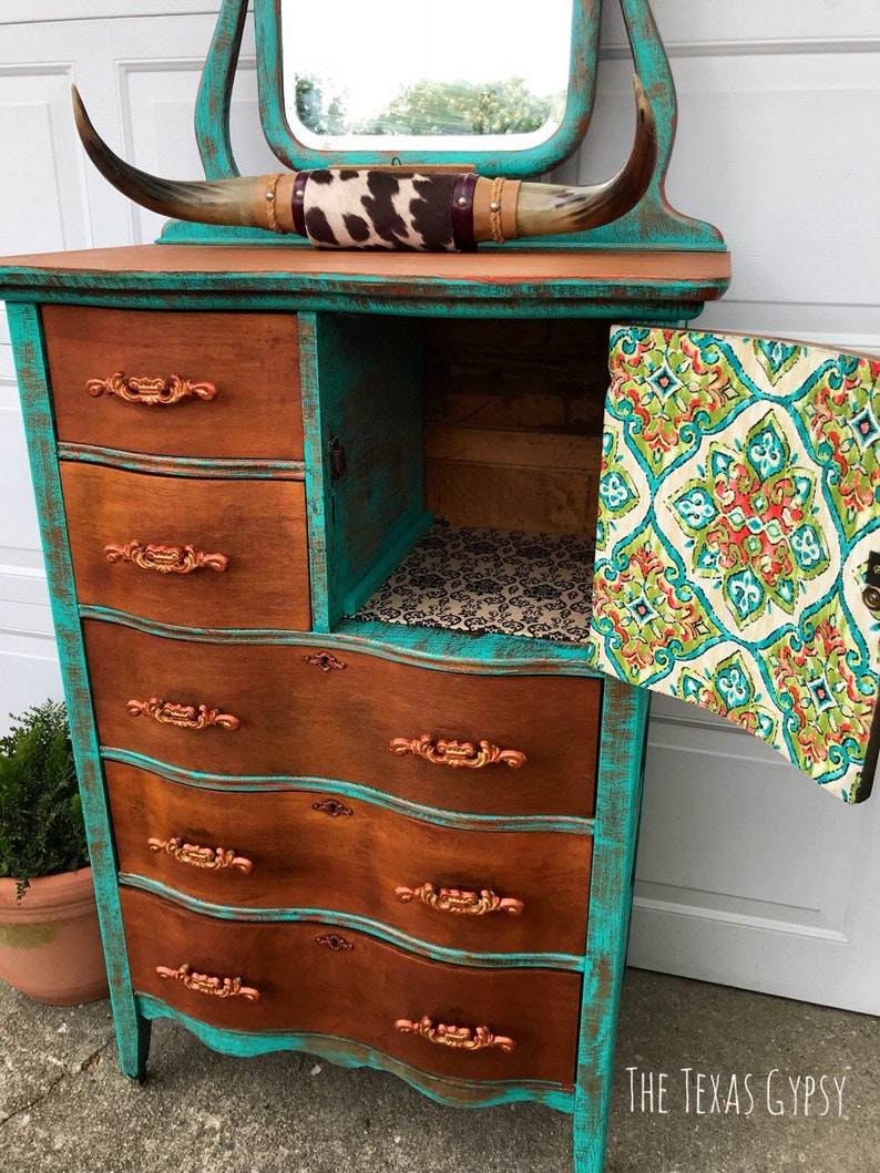Texas Gypsy Style Boho Dresser W Mirror Rustic Patina Tall Etsy
