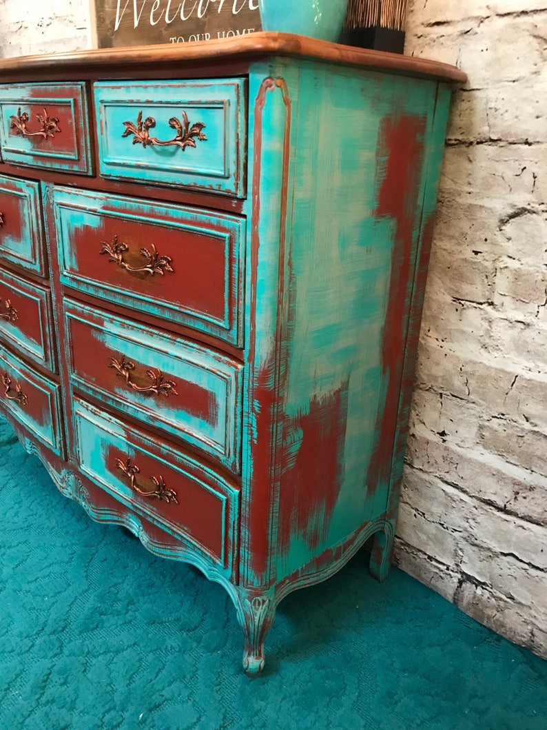 Turquoise Red Persian Blue French Provincial Triple Dresser Buffet Sideboard Console