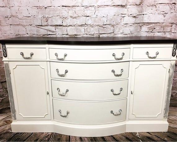 Antique White Buffet Sideboard Credenza Server Dresser Cabinet