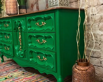 AVAILABLE! Boho French Provincial Triple Dresser, Buffet, Hollywood Regency Furniture, Credenza, Sideboard, Emerald Green