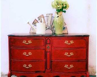 French Provincial Dresser Boho Gypsy Buffet TV Console Changing Table, Red