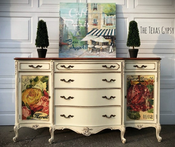 French Provincial Buffet Sideboard French Country Buffet Farmhouse Style Painted Furniture Antique White Buffet