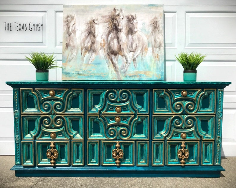 Modern Boho Dresser, Buffet, Credenza, Sideboard, Custom Painted, Hand on hand carved buffet, dining room buffet sideboard, antique french sideboard, french style sideboard, pine sideboard, pennsylvania house sideboard, hand painted vintage sideboard cabinet oriental,