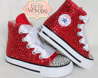 0c80a1be4696ee Infant   Toddlers Girl Swarovski Rhinestone Red Converse